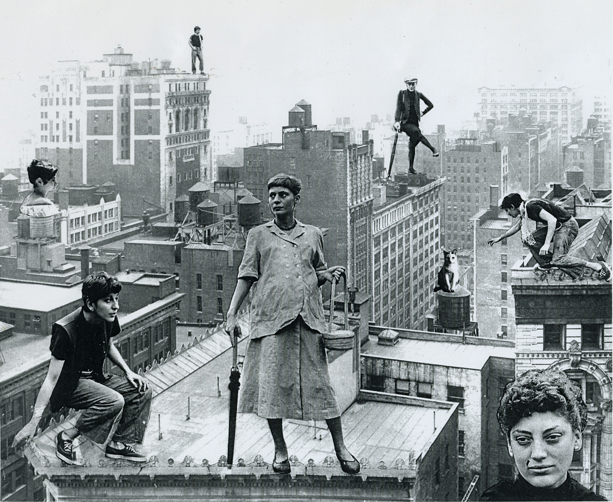 "Rudy Burckhardt photomontage ""Over the Roofs of Chelsea"" created in 1949 for the exhibition with Helen DeMott, Lucia Vernarelli and Edith Schloss Burckhardt at the Pyramid Gallery in New York City. The three close friends were called ""Chelsea Girls"" by Edwin Denby. Foreground: DeMott, Schloss (pregnant with her son Jacob Burckhardt), and Vernarelli. From the Edith Schloss Burckhardt Archive."