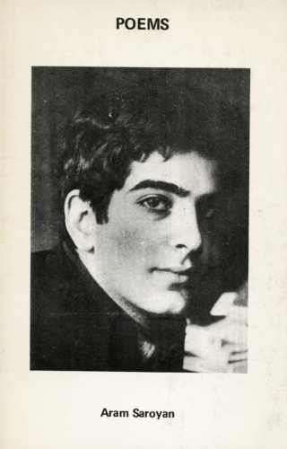 Aram Saroyan, Poems (1972). Cover photograph by Gailyn Saroyan.